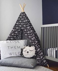 Kids Teepee Tent Black Arrow - Child teepee, boy teepee, play teepee, boy nursery decor, playroom, kids room, toddler gift, tipi tent,