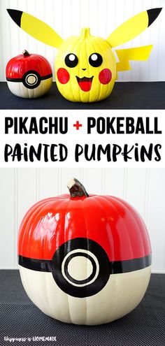 Pokemon Pikachu and Pokeball Pumpkins: Bring your favorite gaming characters to . - Pokemon Pikachu and Pokeball Pumpkins: Bring your favorite gaming characters to life this Halloween - Pokemon Halloween, Pokemon Party, Pokemon Pokemon, Pumpkin Books, Pumpkin Art, Pumpkin Ideas, Pumpkin Carvings, Pumpkin Faces, Pumpkin Recipes