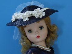 Navy and Ivory Straw Wide Brim Hat Set for Madame Alexander Cissy | eBay