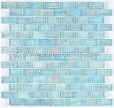Mineral Tiles - Iridescent Pool Glass Tile Aqua 1x2, $14.95 (http://www.mineraltiles.com/iridescent-pool-glass-tile-aqua-1x2/)