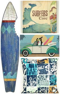 "Casual, with a little bit of ""beach bum"" thrown in, we love this fun surfing style decorating look!"