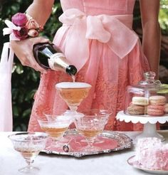 Champagne, pink, macaroons by cathryn