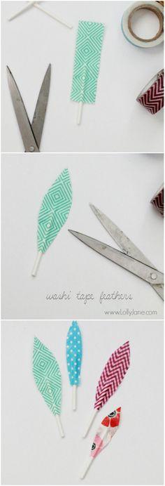 Plumas de washi tape