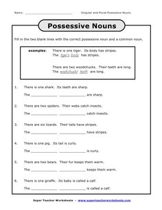 Singular Possessive Nouns Worksheet New Name Singular and Plural Singular Possessive Nouns, Plurals Worksheets, Possessive Nouns Worksheets, 2nd Grade Worksheets, Adjectives Activities, Printable Worksheets, Free, Templates, English Grammar