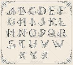 Swirly alphabet - Flourishes / Swirls Decorative