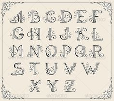 Swirly alphabet ...  alphabet, art, book, border, calligraphic, certificate, classic, curve, decoration, decorative, design, filigree, floral, flourish, foliate, font, formal, frame, invitation, letter, ornamental, ornate, retro, swash, swirl, text, type, typographic, word