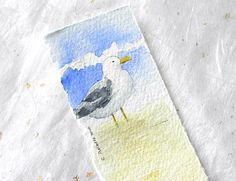 Original Watercolor Bookmark - Seagull on the Beach by 6catsart