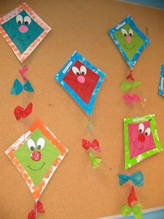 Immagine correlata Kites Craft, Art N Craft, Craft Stick Crafts, Toddler Crafts, Crafts For Kids, Arts And Crafts, Birthday Bulletin Boards, Preschool Projects, Shape Crafts