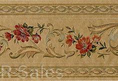 Gold Satin Sheen Vinyl Flower Elegant Royal Dinning Room Wallpaper Wall Border
