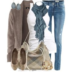 Love this look- Casual Fall Outfit With Brown Cardigan,Lace Scarf and Casual Jeans Jeans Casual, Cute Casual Outfits, Comfy Casual, Chic Outfits, Sexy Outfits, Casual Chic, White Casual, Classic White, Jeans Fit