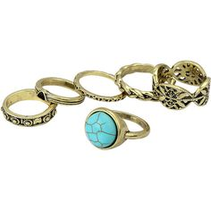 Yoins Turquoise Etched Ring Set (11 AUD) ❤ liked on Polyvore featuring jewelry, rings, accessories, yoins, black, boho chic jewelry, etched ring, boho turquoise rings, boho rings and bohemian style jewelry