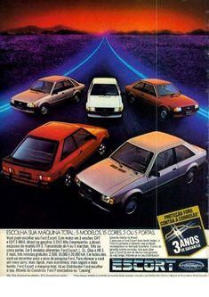 1984 Ford Escort Range Line- up - Ford of Brazil. Retro Ads, Vintage Ads, Aston Martin, Subaru, Volvo, Touring, Argentina South America, Toyota, Psa Peugeot