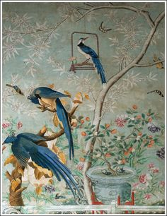 爱 Chinoiserie? 爱 home decor in chinoiserie style - Chinese Room Handpainted Wallpaper Columbia Jayes. (jt-real size but would be beautiful scaled down for the dolls house! Hand Painted Wallpaper, Of Wallpaper, Designer Wallpaper, Chinese Wallpaper, Gracie Wallpaper, Wallpaper Furniture, Scenic Wallpaper, Antique Wallpaper, Spring Wallpaper