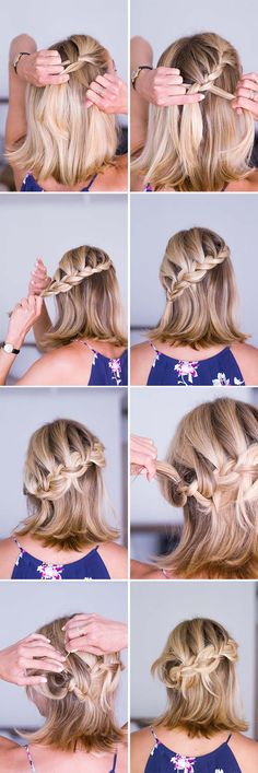 short hair braid tutorial + half-up hairstyle via anne sage