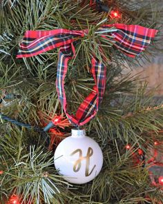 Personalized glass ball ornament for the Christmas tree - Choose initial/name - Text is written BY HAND - Gift Wrapped & Ready to Give!