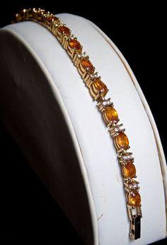 Avon November Citrine Birthstone and Diamond Crystal Rhinestones Tennis Bracelet #AvonandSO #AvonCitrieneNovemberBirthstoneTennisBracelet