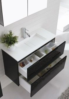 'Aspen' 900 Black Wall Hung Vanity - Contemporary Vanities - Bathroom Vanities - Shop By Product