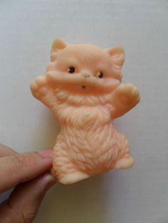 Vintage Soviet USSR Rubber Toy Doll CAT Rare
