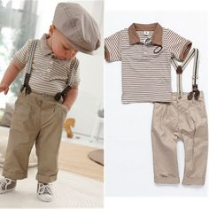 Boys Baby Clothes Toddler Set Gentleman Overalls 2pcs Outfit Top Bib Pants Boy striped suit kids Children's Clothing Chic 2013(China (Mainland))