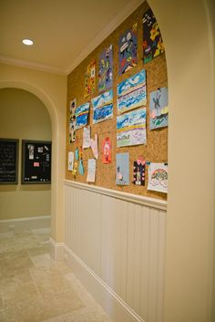 Love this idea for kids work etc! Living With Kids: Karin Katherine. >> corkboard down the hallway to hang up kids art work Design Thinking, Displaying Kids Artwork, Artwork Display, Hang Kids Artwork, Display Wall, Display Design, Cork Wall, Cork Board Walls, Cork Boards
