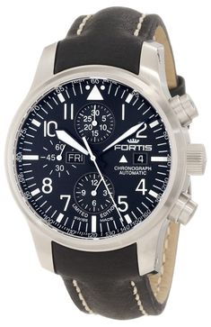 Men Watches Fortis Men's 701.10.81 L.01 F-43 Flieger Chronograph Black Automatic Chronograph Date Leather Watch