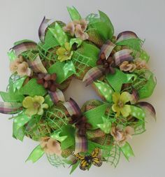 SOLD!  02-26-14 Spring wreath features lime green and natural by WredWrockWreaths, $65.00