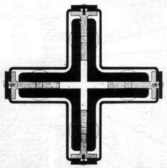 Mies Van der Rohe, Padiglione tedesco all'Esposizione di Barcellona, 1929. Particolare della sezione del pilastro cruciforme