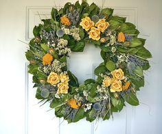 The Wreath Depot - Sunshine Lane Rose Wreath - 22 in, $64.99 (http://www.thewreathdepot.com/sunshine-lane-rose-wreath-22-in/)