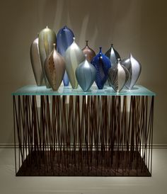 Lino Tagliapietra (Italian, born 1934) Manhattan Sunset, 1997 Blown glass with cane pick-ups, battuto and inciso cut; steel and glass Collection of Museum of Glass Photo by Duncan Price