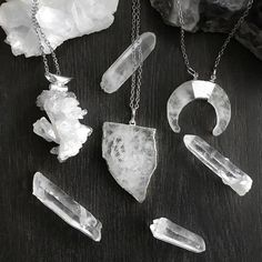 Crystal Quartz: believed to help keep your mind clear and help you make better choices in the future ✨🔮. Sounds like something I need to wear this weekend! 😅 #friyay  -  -  -  #hellaholics #crystals #stone #crystaljewelry #witchy #witches #witch #witchythings #occult #occultism #dark #goth #alternative #necklace #ring #mystic #mystical #magic #magick #boho #bohojewelry #spiritual #spirit #quartz #clearquartz #raw #rawquartz #quartznecklace #crystalquartz