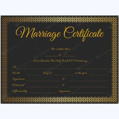 Marriage Certificate BLK) - Get high quality, professionally designed template. Templates are available in Word & PDF Formats. Marriage Certificate, Certificate Design, Certificate Templates, Pdf, Writing, Words, Layouts, Printable, Marriage License
