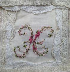 Elaborate Custom Hand Embroidery Monogram by Verbenacustomblends