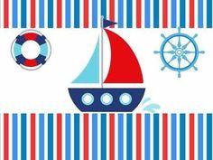 Kit Imprimible Nautico Marinero Barco Candybar Invitaciones