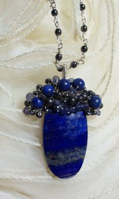 Sterling Pendant Lapis Hematite Iolite Dark Blue by THEGARNETTABOO, $72.00