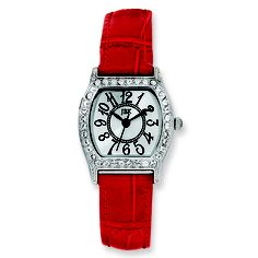 Jackie Kennedy red strapped watch with gorgeous accents