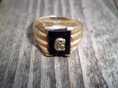 Vintage Stamped 10k Gold and Black Onyx Ring by TheEclecTiqueRaven #goldrings #stampedgold #signetrings