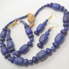 Lapis Lazuli Jewellery Set with Gold Plated Clasp, Semi Precious Jewellery Set £30.00 Lapis Lazuli Jewelry, Leaf Shapes, Beautiful Gifts, Handmade Jewellery, Gifts For Friends, Brooches, Jewelry Sets, Plating, Charms