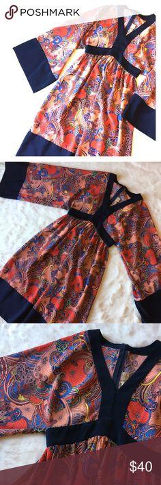 b2f9099475 Karen Zambos Print Dress Fun and flattering dress with kimono style sleeve.  The bright all
