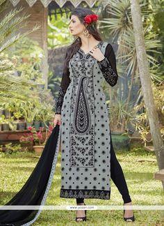 Paramount Embroidered Work Grey Georgette Designer Suit Model: YOS6859
