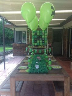 Awesome tablescape at a Minecraft birthday party! See more party planning ideas at CatchMyParty.com!