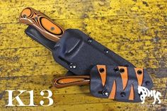 Blind Horse Knives Custom Kydex. Orange and black tiger stripes. Let us personalize your kydex sheath. Check out BHK Custom Kydex.