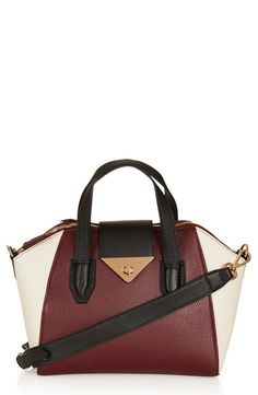 Topshop Faux Leather Burgundy Colorblock Bag
