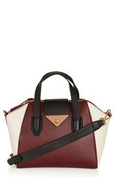 Topshop Faux Leather Burgundy Colorblock Bag