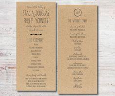 Rustic Printable Wedding Program Rustic by SimplyFetchingPaper, $22.00