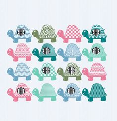 Turtle Monogram Frame, Turtles SVG Cut Files, SVG, dxf, ai, eps, png Monogram SVG Cricut Design Space,Silhouette, Digital Cut Files, by JenCraftDesigns on Etsy