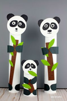 Paper roll panda craft - zoo animal craft for kids Make a r. Paper roll panda craft - zoo animal craft for kids Make a recycled ZOO animal craft and turn a Giraffe Crafts, Ocean Animal Crafts, Farm Animal Crafts, Bear Crafts, Animal Crafts For Kids, Winter Crafts For Kids, Toddler Crafts, Preschool Crafts, Craft Kids