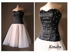 KENDRA Black and beige prom dress rhinestones  by AtelierArtistia