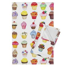 Orpington Tea Towels featuring CupCakes by littleislandcompany   Roostery Home Decor