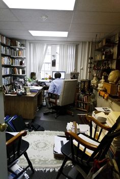 Professor Harper's office in which many people go to complain about his given grades.