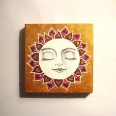 Hand painted gold sun face mini canvas. by SeeQueenStones on Etsy, £10.00